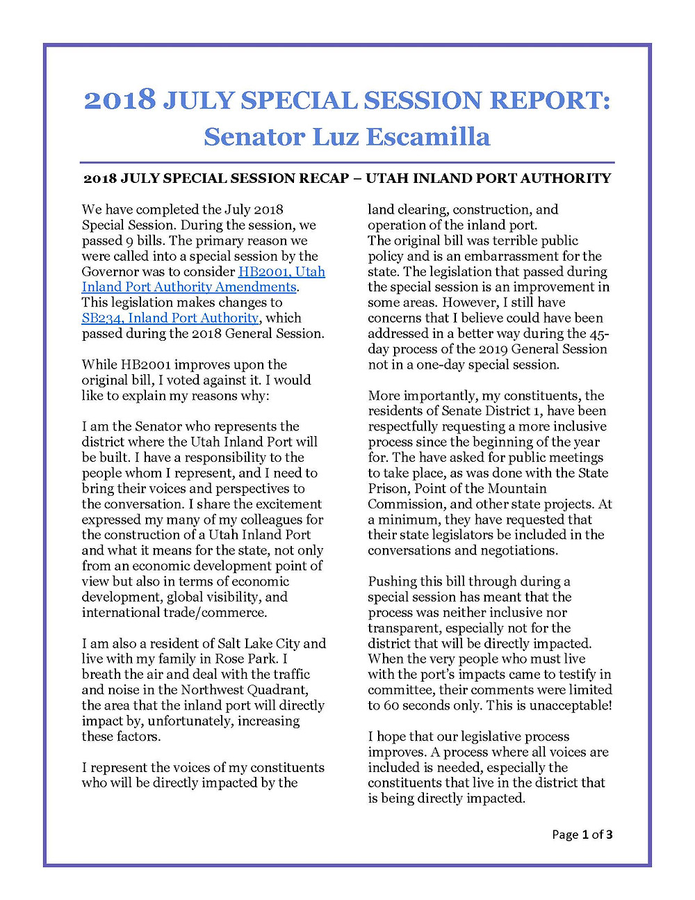 July 2018 Special Session Report Page 3 of 3