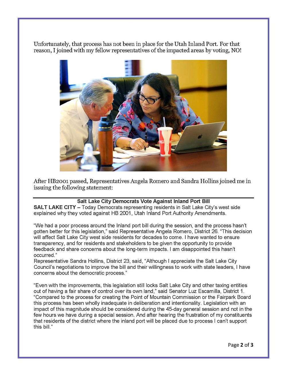 July 2018 Special Session Report Page 2 of 3