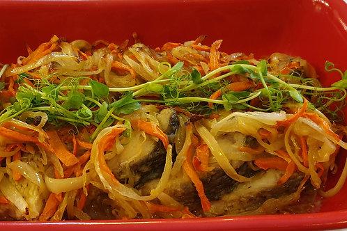 Короп смажений з овочами