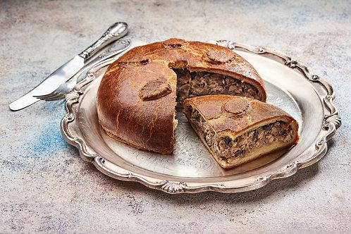 Пиріг з індичкою запеченою в чорносливі та шампанському