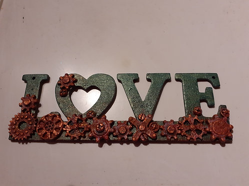Steampunk Love plaque