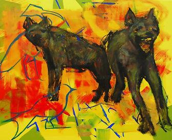 2 beissende Hyänen und 2 betrachtende Vögel