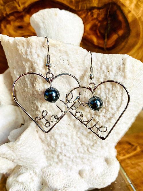 'Love' Script Heart Earrings Hamilton Silver