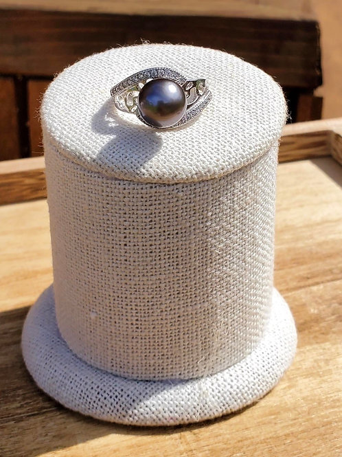 CZ Sterling Silver Tahitian Pearl Adjustable Ring
