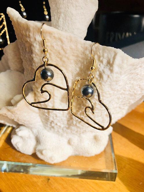 Heart & Wave Earrings Hamilton Gold