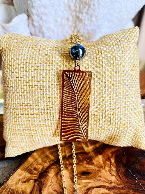 """Palm Leaf Necklace Hamilton Gold 20"""""""