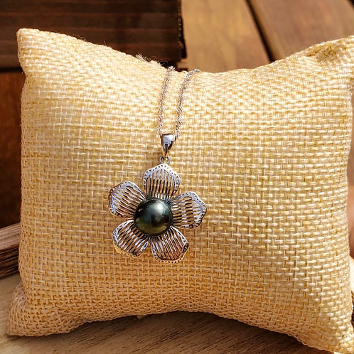 Plumeria Tahitian Pearl Sterling Silver Pendant & Chain