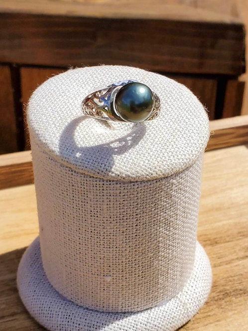 Hawaiian Scroll Sterling Silver Adjustable Ring & Tahitian Pearl