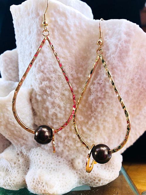Teardrop Brown Shell Pearl Earring Hamilton Gold