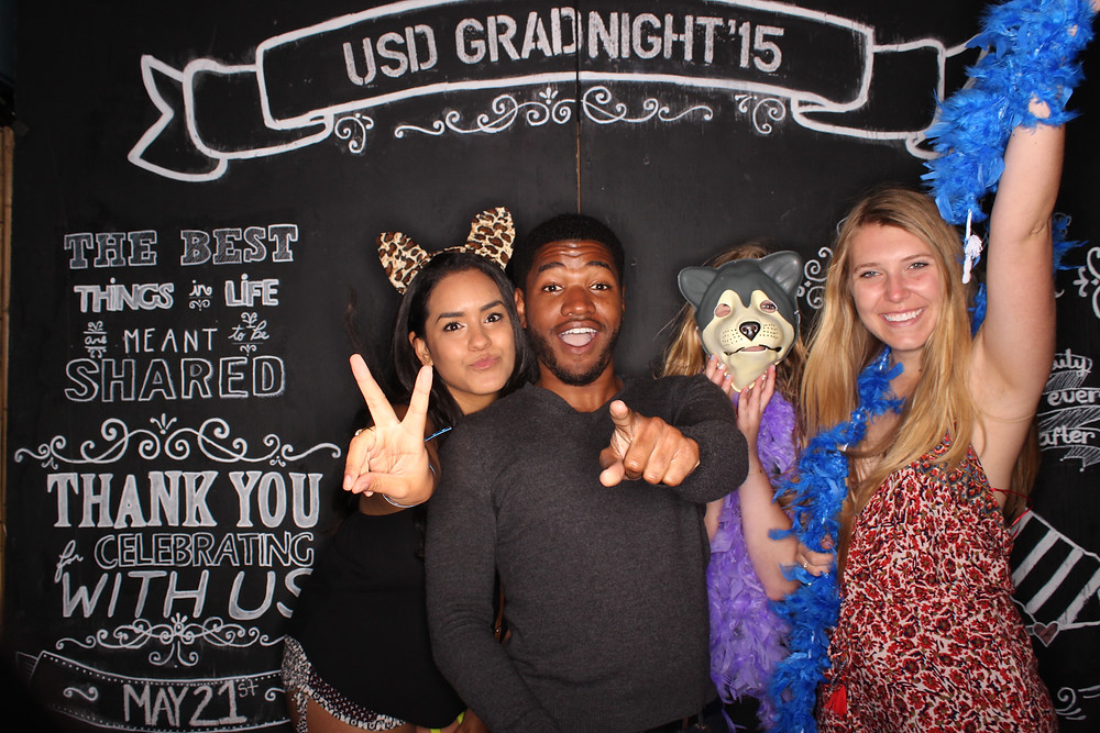 Last Thursday, we celebrated USD's graduation with our open air photo booth at The Wavehouse in Mission Beach. The open air photo booth option is perfect for celebrating your graduation with all your friends and family!