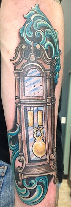 grandfather clock face tattoo. traditional grandfather clock tattoo face