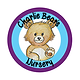 Brown Teddy bear in purple and blue circles forming the Charlie Bear's logo