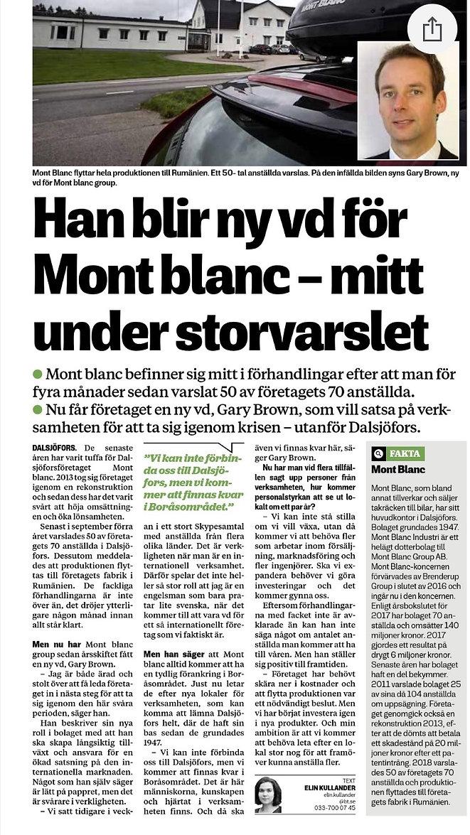 Gary Brown new CEO interview Boras Tidni
