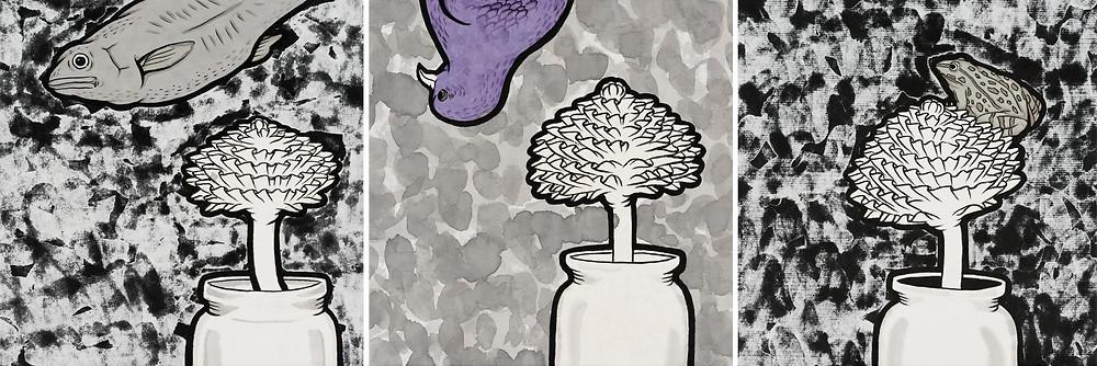 瓶花集 / 2012 / 21.5 x 67.5 cm / 墨、壓克力顏料、無酸樹脂、雙宣