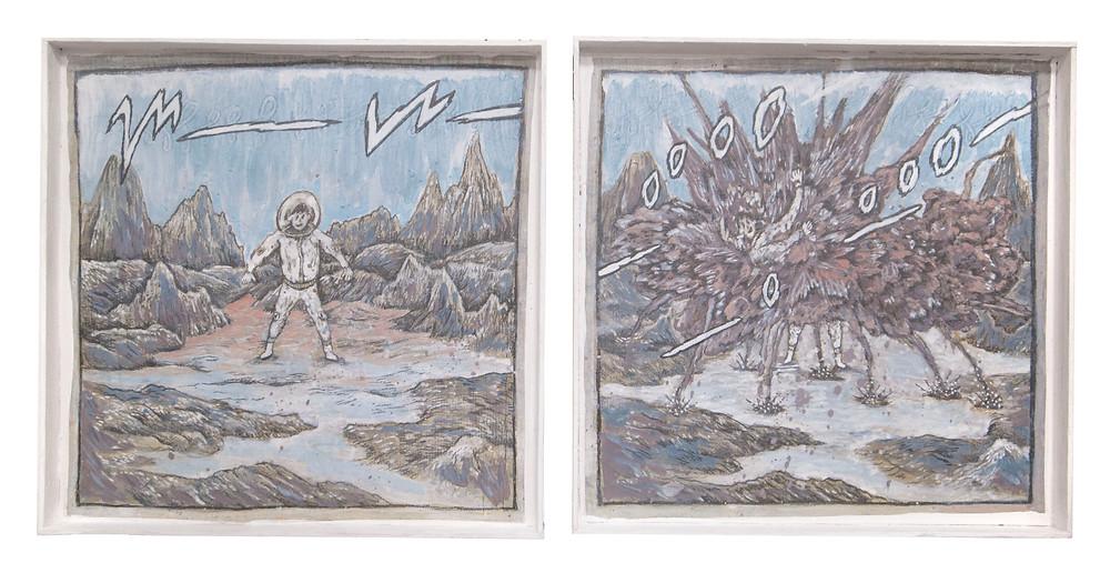 宇宙煙花 | 2014 | 鉛筆、壓克力彩、紙、自製木框 | 各 26 x 26 cm (兩件一組)