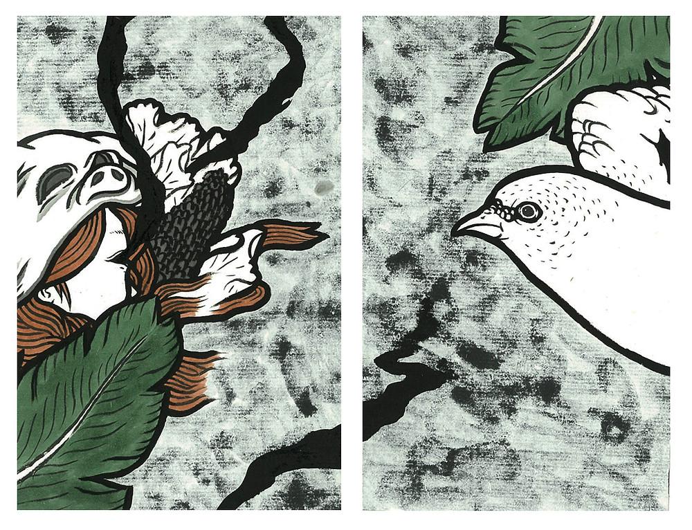 日日 / 2015 / 16 x 21 cm / 墨、壓克力顏料、雙宣