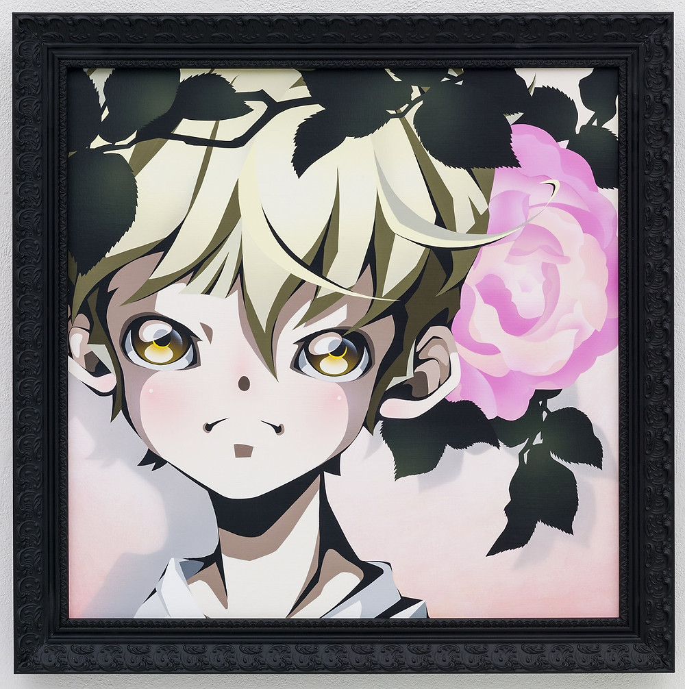 English Rose / 63 x 63 cm / Acrylic on Canvas with black wood frame / 2016