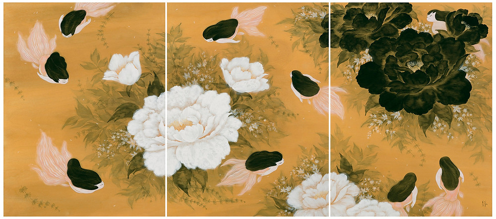 Peonies and Ballerinas 九如 | 2015 | 60.96 x 137.16 cm | Acrylic and Cel Vinyl on Wood