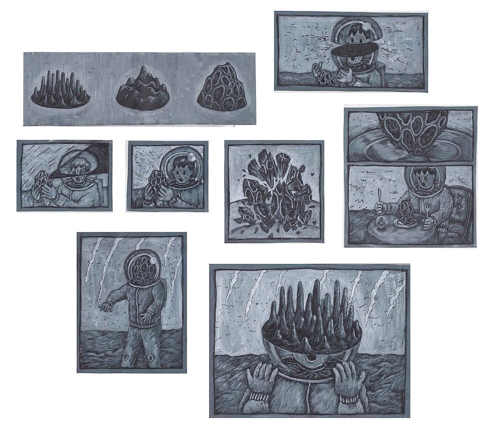 Space Lunch | 2014 | 鉛筆、壓克力彩、紙、回收畫框 | 60 x 70 cm (八件一組)