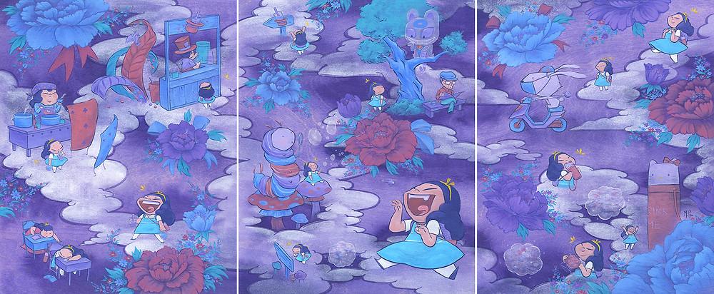 In Dreams / 50.8 x 121.92 cm / Acrylic and Cel Vinyl on Wood / 2014