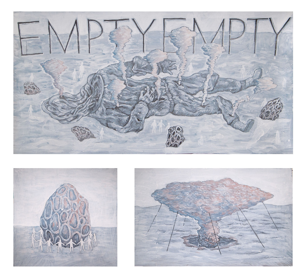 流星群們 | 2014 | 鉛筆、壓克力彩、紙 | 50 x 56 cm (三件一組)