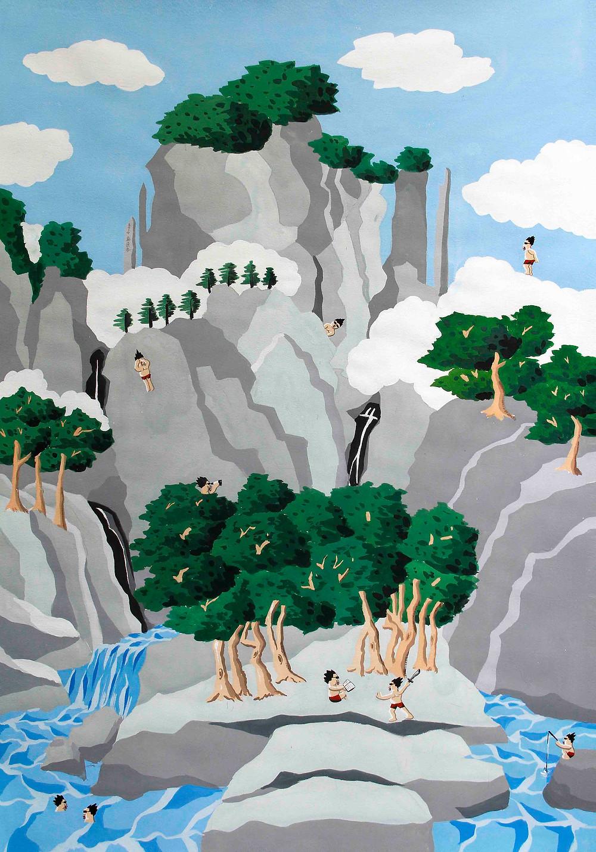 萬壑松風圖 2014 水粉 紙  112x79cm
