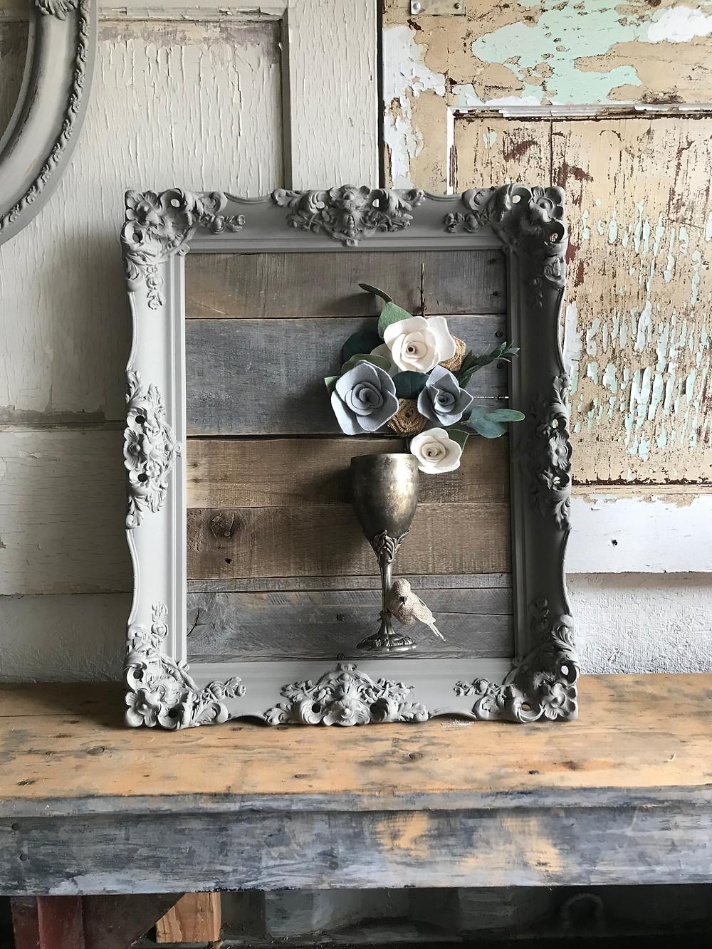 Pallet Refinery Frame, Felt Flowers, Antique