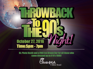 Throwback to the 90's tonight Oct 27th 5-7 Chick-Fil-A Nine Mile with A DJ Connection