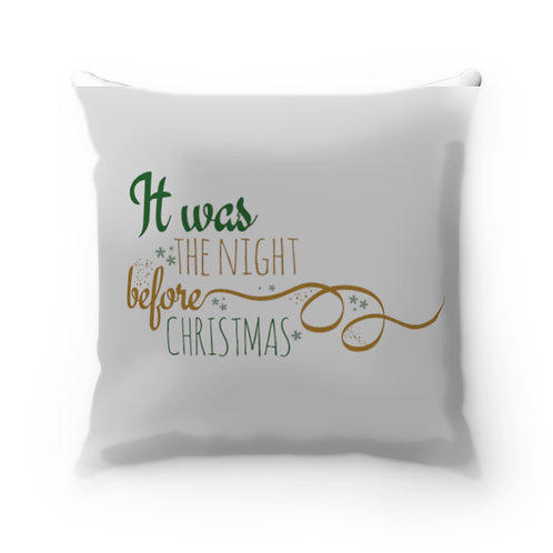 Night Before Christmas Spun Polyester Square Pillow