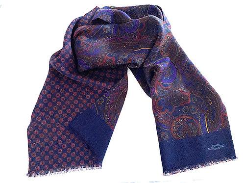 Balmoral Silk and WoolReversible Scarf - Navy - SC 0768 A