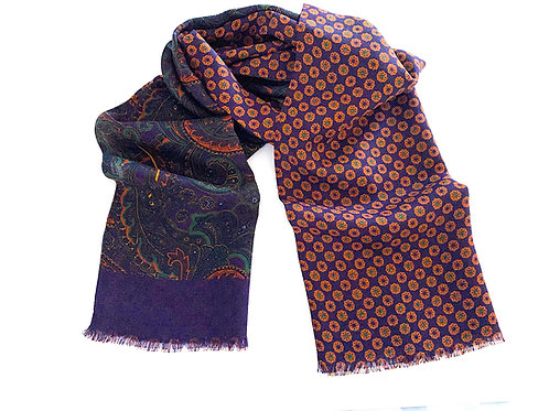 Balmoral Silk and Wool Reversible Scarf - Violet - SC 0768 D