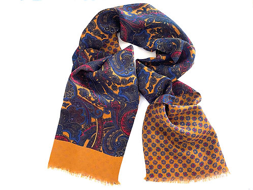 Balmoral Silk and Wool Reversible Scarf - Gold - SC 0768 C