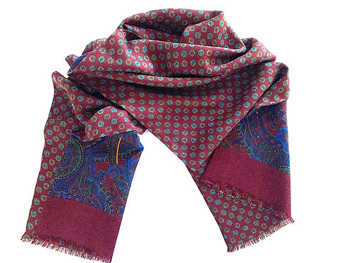 Balmoral Silk and Wool Reversible Scarf - Wine - SC 0768 B