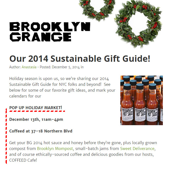 Brooklyn Grange Holiday Market 2014