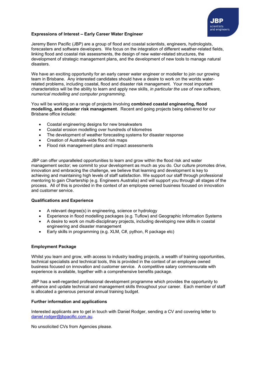 Position vacant - early career water engineer