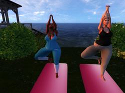Sisters bonding over yoga