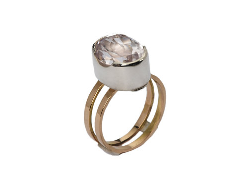 Morganite and Gold Double-bar ring