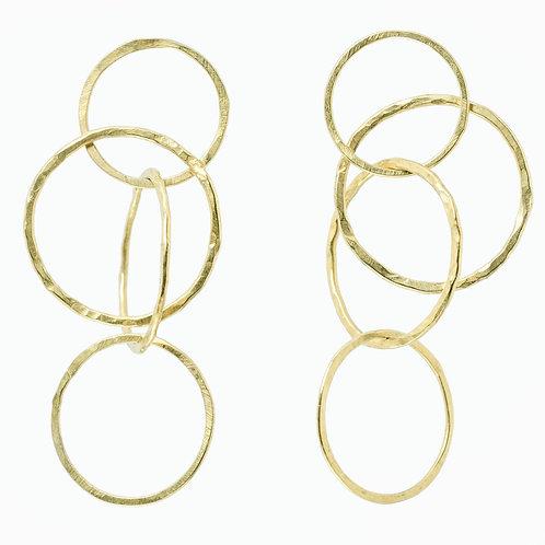4 Circle Gold Earrings