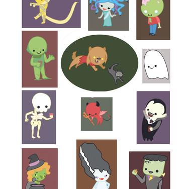 Halloween Card; Characters