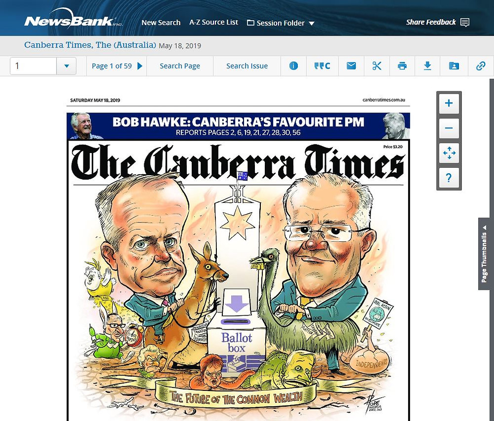 Canberra Times (front cover; 18th May 2019)