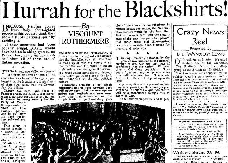 The British Union of Fascists: newspapers and secret files, 1933–1951