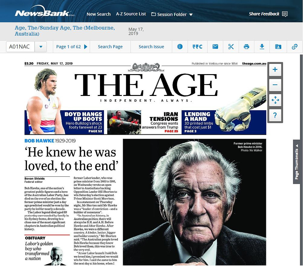 The AGe (front cover; 17th May 2019)