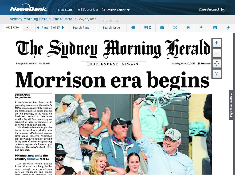 Sydney Morning Herald (front cover; 20th May 2019)