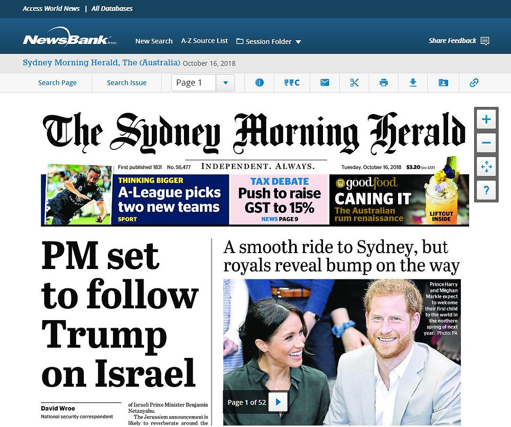 Sydney Morning Herald cover