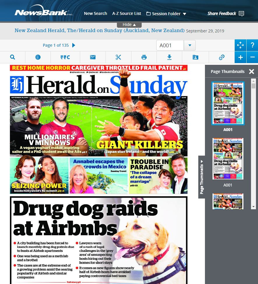 Cover image of the Herald on Sunday on NewsBank