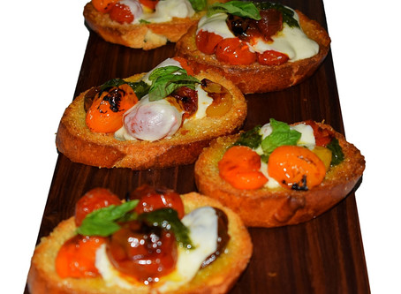 Oven roasted Heirloom Tomato Bruschetta
