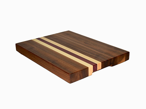Walnut Maple & Purple Heart Edge Grain Cutting Board