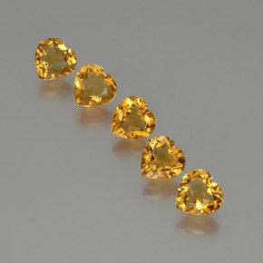 1 carat (5 pcs) Heart 7.1x7 mm Yellow Citrine Gemstones