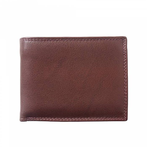 Man wallet in calf-skin soft leather Brown