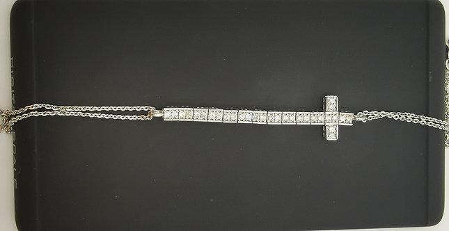 Diamond Half TennisCross Bracelet